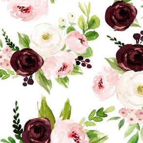 "12"" Rustic Burgundy Blush Florals // White"