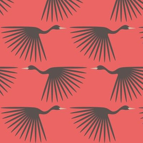 Art Deco Grey Cranes - Living Coral