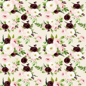 "4"" Rustic Burgundy Blush Florals // White Linen"