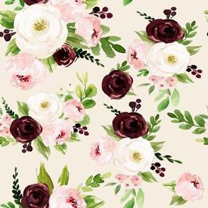 "8"" Rustic Burgundy Blush Florals // White Linen"