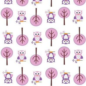 Owl Forest Pink and Purple