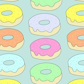 pastel donuts on teal background