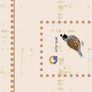 Q is for quail tea towel-desert sand