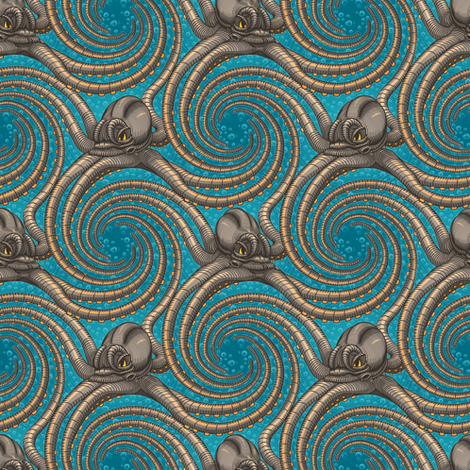 ★ KRAKEN ' ROLL ★ Teal - Tiny Scale / Collection : Kraken ' Roll – Steampunk Octopus Print fabric by borderlines on Spoonflower - custom fabric