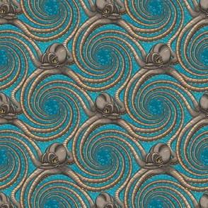 ★ KRAKEN ' ROLL ★ Teal - Tiny Scale / Collection : Kraken ' Roll – Steampunk Octopus Print