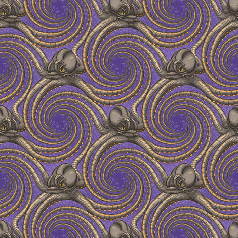 ★ KRAKEN ' ROLL ★ Violet - Tiny Scale / Collection : Kraken ' Roll – Steampunk Octopus Print fabric by borderlines on Spoonflower - custom fabric