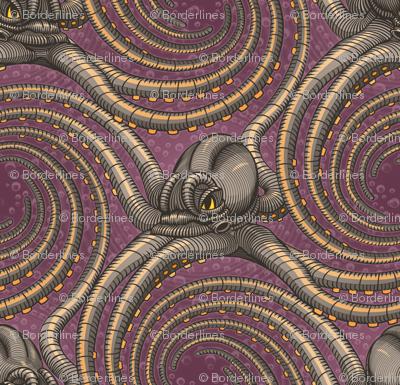 ★ KRAKEN ' ROLL ★ Purple - Tiny Scale / Collection : Kraken ' Roll – Steampunk Octopus Print