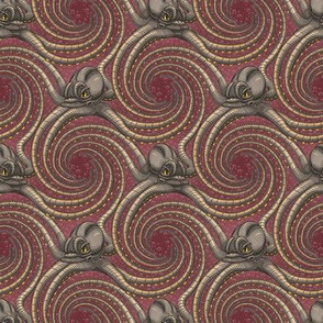 ★ KRAKEN ' ROLL ★ Burgundy Red - Tiny Scale / Collection : Kraken ' Roll – Steampunk Octopus Print