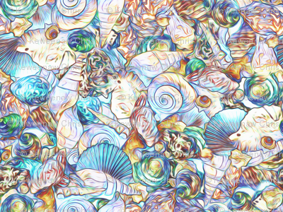 sea shell scatter cool blue