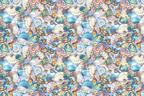 sea shell scatter cool blue fabric by keweenawchris on Spoonflower - custom fabric