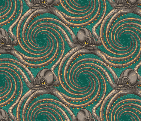 ★ KRAKEN ' ROLL ★ Green - Large Scale / Collection : Kraken ' Roll – Steampunk Octopus Print fabric by borderlines on Spoonflower - custom fabric