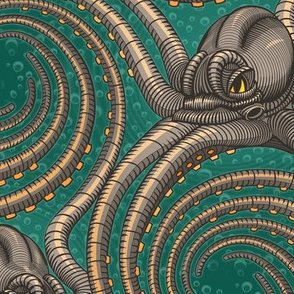 ★ KRAKEN ' ROLL ★ Green - Large Scale / Collection : Kraken ' Roll – Steampunk Octopus Print