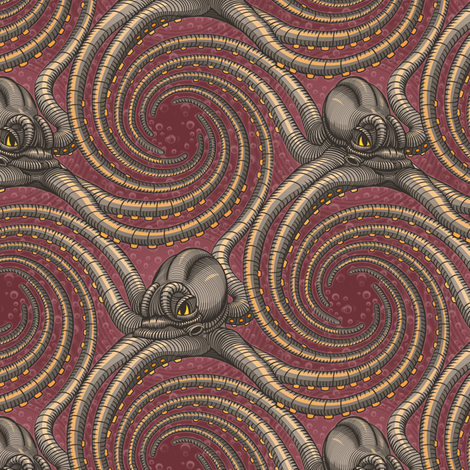 ★ KRAKEN ' ROLL ★ Burgundy Red - Small Scale / Collection : Kraken ' Roll – Steampunk Octopus Print fabric by borderlines on Spoonflower - custom fabric