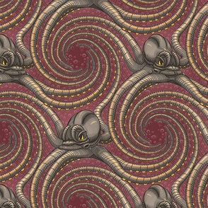 ★ KRAKEN ' ROLL ★ Burgundy Red - Small Scale / Collection : Kraken ' Roll – Steampunk Octopus Print