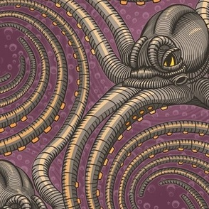 ★ KRAKEN ' ROLL ★ Purple - Large Scale / Collection : Kraken ' Roll – Steampunk Octopus Print