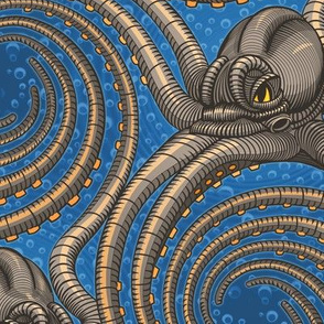 ★ KRAKEN ' ROLL ★ Blue - Large Scale / Collection : Kraken ' Roll – Steampunk Octopus Print
