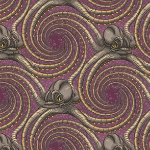 ★ KRAKEN ' ROLL ★ Purple - Small Scale / Collection : Kraken ' Roll – Steampunk Octopus Print