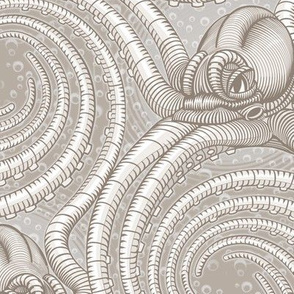 ★ KRAKEN ' ROLL ★ Monochrome Light Sand Gray - Large Scale / Collection : Kraken ' Roll – Steampunk Octopus Print