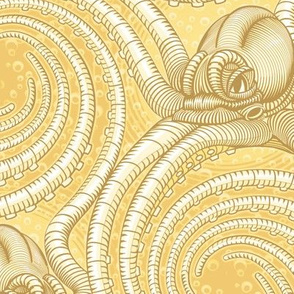 ★ KRAKEN ' ROLL ★ Monochrome Light Golden Yellow - Large Scale / Collection : Kraken ' Roll – Steampunk Octopus Print