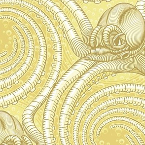 ★ KRAKEN ' ROLL ★ Monochrome Light Mustard Yellow - Large Scale / Collection : Kraken ' Roll – Steampunk Octopus Print