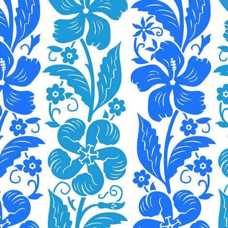 Hibiscus Rinceaux 1c fabric by muhlenkott on Spoonflower - custom fabric