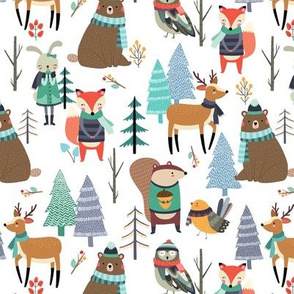 Winter Forest Animals - Bears Deer Fox Owl Kids Woodland Design - GingerLous