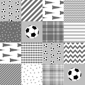 soccer cheater quilt - sports, sport, grey, kids, boys, football wholecloth