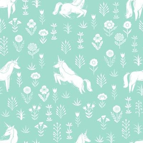 unicorn meadow // linocut floral, wild flowers, wildflower, flower, unicorns girls baby fabric - mint