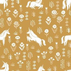 unicorn meadow // linocut floral, wild flowers, wildflower, flower, unicorns girls baby fabric - mustard