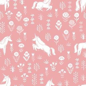 unicorn meadow // linocut floral, wild flowers, wildflower, flower, unicorns girls baby fabric - coral