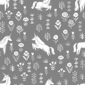 unicorn meadow // linocut floral, wild flowers, wildflower, flower, unicorns girls baby fabric - grey