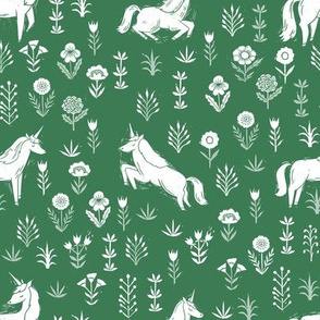 unicorn meadow // linocut floral, wild flowers, wildflower, flower, unicorns girls baby fabric - green