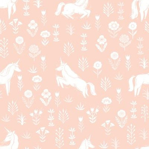 unicorn meadow // linocut floral, wild flowers, wildflower, flower, unicorns girls baby fabric - blush