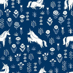 unicorn meadow // linocut floral, wild flowers, wildflower, flower, unicorns girls baby fabric - navy