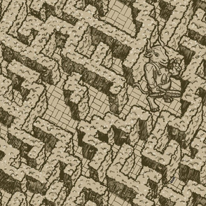 Minotaur maze, sepia