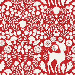 Woodland Deer (on Apple Red)
