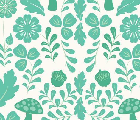 Woodland Deer (Mint) fabric by thimblekin on Spoonflower - custom fabric