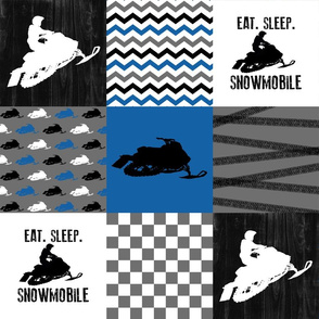 Eat Sleep Snowmobile//Blue - Wholecloth Cheater Quilt