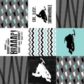 Eat Sleep Snowmobile//Aqua - Wholecloth Cheater Quilt - Rotated