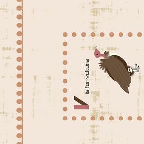 V is for vulture tea towel-terra cotta
