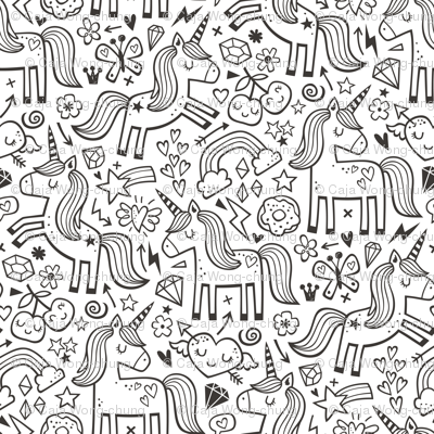 Unicorn & Hearts Rainbow  Love Valentine Doodle Black & White Coloring