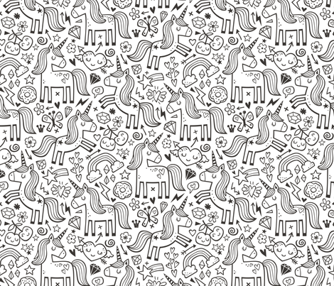 Unicorn & Hearts Rainbow  Love Valentine Doodle Black & White Coloring fabric by caja_design on Spoonflower - custom fabric