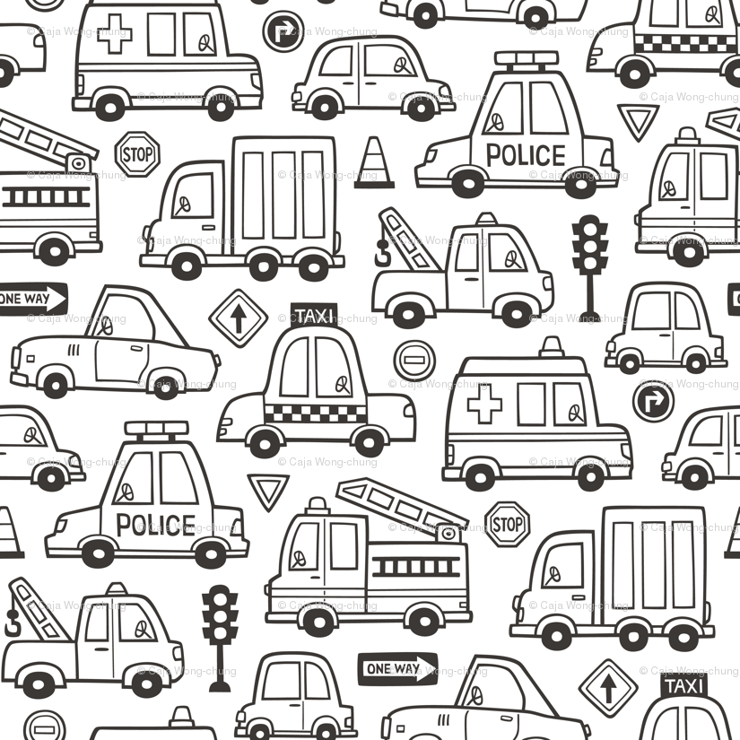 Cars Vehicles Doodle fabric Black & White Coloring wallpaper ...