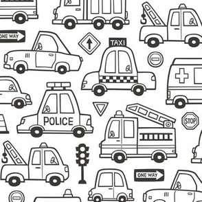 Cars Vehicles Doodle fabric Black & White Coloring