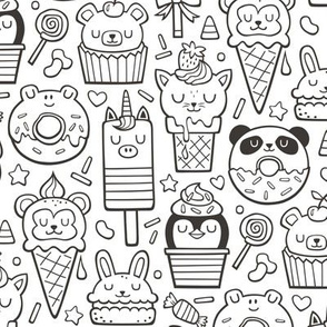 Animals Sweets Candy Ice Cream & Donuts Black & White Coloring
