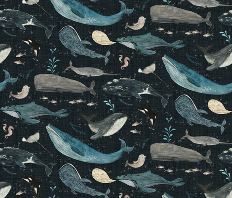 Whale's song charcoal {large} fabric by katherine_quinn on Spoonflower - custom fabric