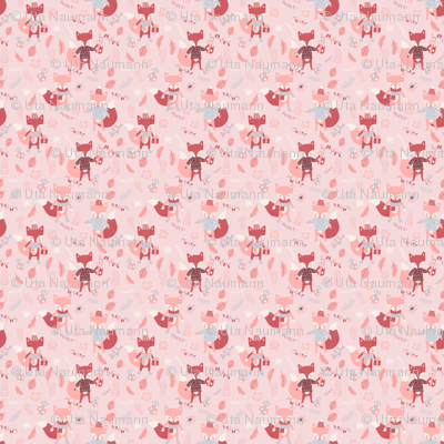Foxes in Autumn Forest - Pink X-Small