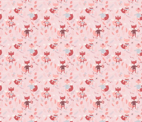 Foxes in Autumn Forest - Pink X-Small fabric by utart on Spoonflower - custom fabric