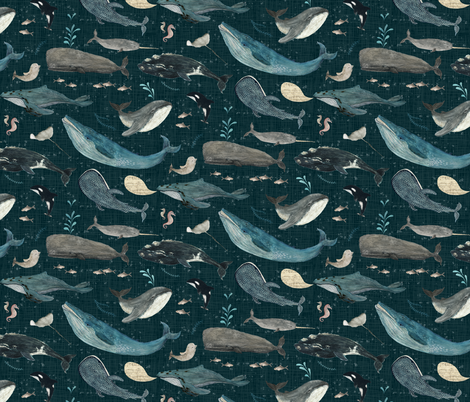 Whale's song dark blue {small} fabric by katherine_quinn on Spoonflower - custom fabric