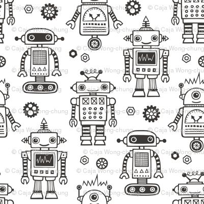 Cute Robots Black & White Coloring